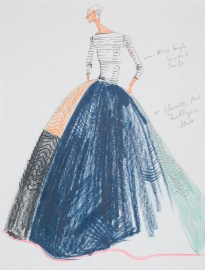 Isaac Mizrahi, sketch for Elevator Pad Gown, spring 2005. Credit Line: Photograph by Richard Goodbody, the Jewish Museum, New York